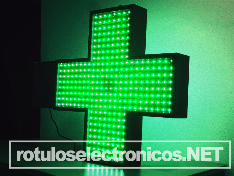 cruz de farmacia led verde